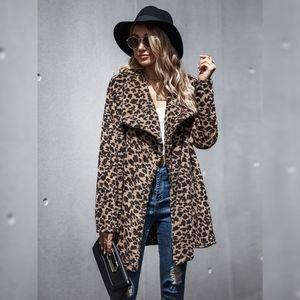 Leopard Waterfall Collar Teddy Coat